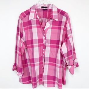Fox Croft wrinkle free fitted fit pink plaid shirt